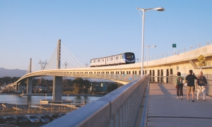 """North Arm Bridge, an """"extradosed"""" design by Buckland & Taylor, carries the Canada Line and a pedestrian-cycle path."""
