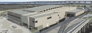 Rendering of the Canada Line Operations and Maintenance Centre, designed by Omicron as architects and engineers.