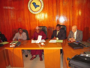 CIMA executives sign contract with Lake Chad Basin Commission. Dr. Nacer Zerrouk is on far right; Dr. Hamidou Abdou is third from right.