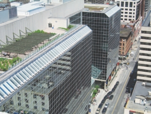 Aerial view of building on Queen Street, downtown Ottawa.