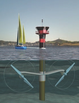 1.2-MW tidal power generator from Marine Current Turbines that Minas Basin will install in Bay of Fundy.