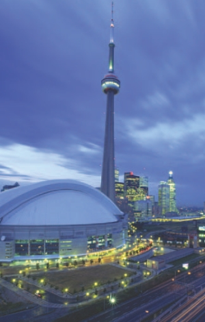 Rogers Centre (SkyDome) in Toronto. The design included a method of cooling that washed cool air down over the patrons.