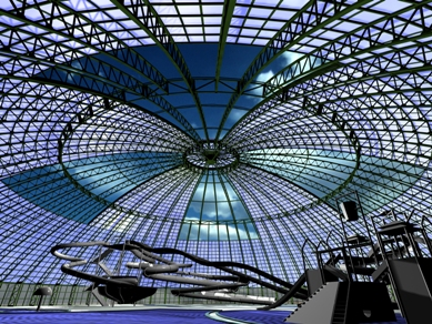 Retractable aluminum roof by OpenAire for Royal Marine Aquapark in Donetsk, Ukraine