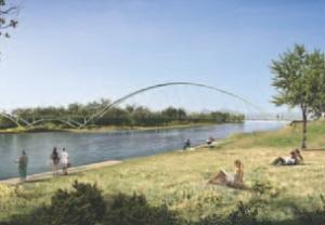 Design concept for St. Patrick's Island pedestrian bridge in Calgary by Halsall/RFR.