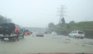 Photos: Red Hill Valley Parkway in the throes of the storm on July 26, 2009.