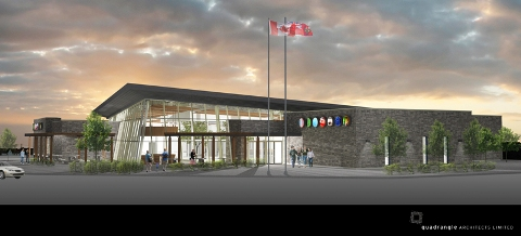 Artist's rendering of one of the new Ontario Service Centres being built on Highways 400 and 401. Image courtesy Quadrangle Architects.