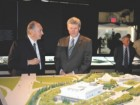 His Royal Highness the Aga Khan and Prime Minister Stephen Harper look over a model of the Ismaili Centre and Aga Khan Museum in Toronto in May.
