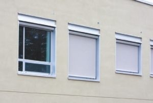 Automated exterior window blinds.