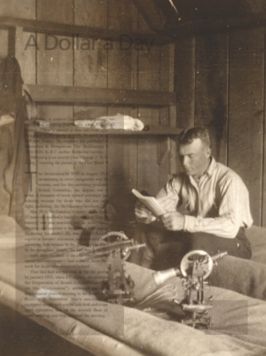 W.G. McElhanney working on field notes during the 124th meridian surveys for the B.C. Government in 1912.
