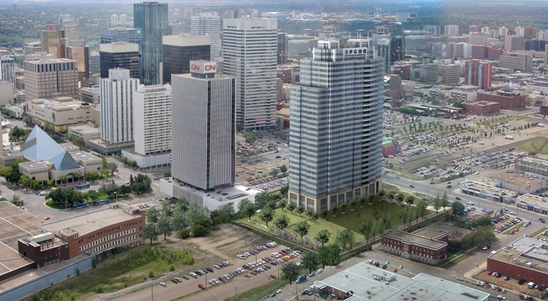 Aerial view of EPCOR Tower (at right) under construction in downtown Edmonton. Image courtesy Kasian Architecture Interior Design and Planning.