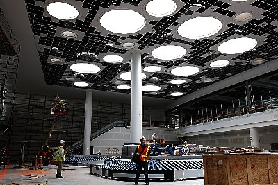 Baggage hall at the new terminal under construction in Winnipeg. Note the many skylights above.