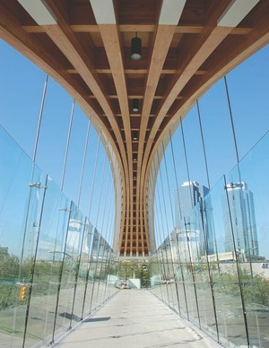 """The 44-m arch with """"pinched"""" glu-lam beams."""
