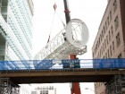 Installing the pedestrian bridge at St. Michael's Hospital, Toronto.