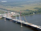 Construction of six-lane bridge over Rivire des Prairies between Laval and Montreal. Photograph taken in September, courtesy Structal-Bridges.