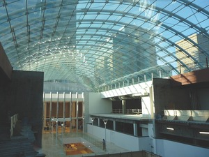 Calgary Eaton Centre/TD Square with its expansive glass roof. The supporting structure is pared down to make the skylight seem as transparent as possible. Halcrow Yolles was structural engineer for both buildings.