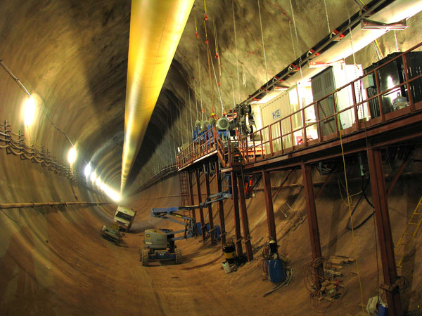 View inside the new Niagara Tunnel showing the huge scale. The tunnel will divert more water from the Niagara River to the Sir Adam Beck generating Station. Photo courtesy Ontario Power Generation.