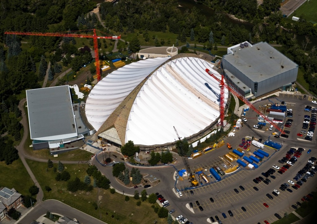 Installing new fabric roof at the Talisman Centre, Calgary
