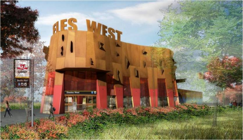 Design for Steeles West Station on the Toronto-York Spadina Subway Extension.