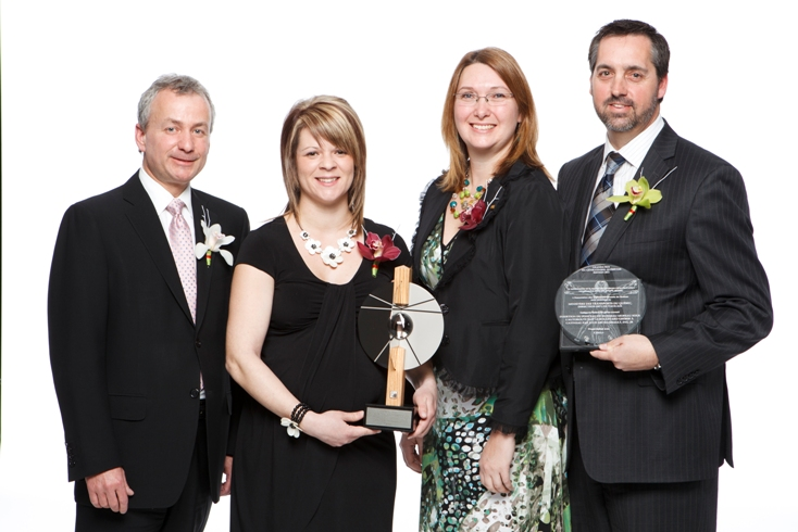 Celebrating at the AICQ awards in Montreal, April 1 (left to right): Rosaire Sauriol of Dessau, president of AICQ; Julie Archambault of CIMA+ , Nadine Paquette of CIMA+, Jacques Henry of Transports Qubec. Julie Archambault won the Emerging Consulting Engineering Professional Award.
