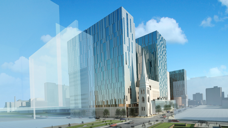 Artist's impression of CHUM hospital in downtown Montreal, just started construction.