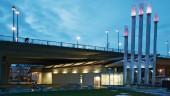 The award-winning architecture set against the Cambie Bridge.  Photo courtesy Ausenco Sandwell.