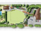 Site plan for the park, with underground tank outlined.