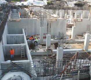 Underground sewage tank under construction.