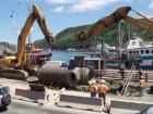 Interceptor sewer being installed; it runs 2 kilomtres around the harbour