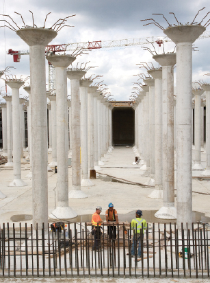 The scale of the new underground reservoir seen here without its roof is almost surreal. It has almost 450 columns, which are 9 metres high.