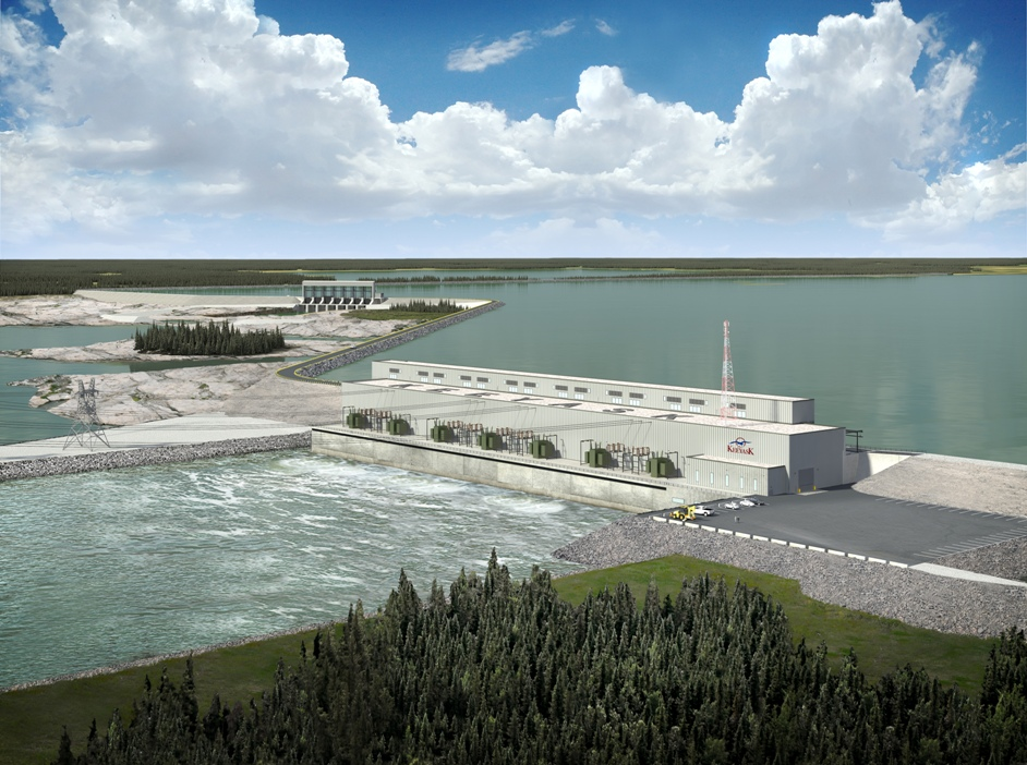 Artist's rendering of Keeyask hydropower station on the lower Nelson River in Manitoba.  Image courtesy Manitoba Hydro.
