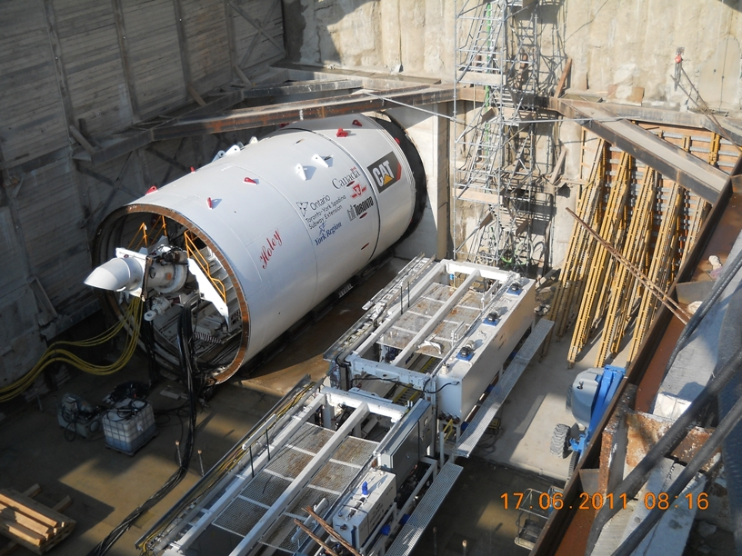 Tunnel boring machine for the new extension to the Toronto subway line, which will extend northwest from the current Spadina line terminus at Downsview to York University.
