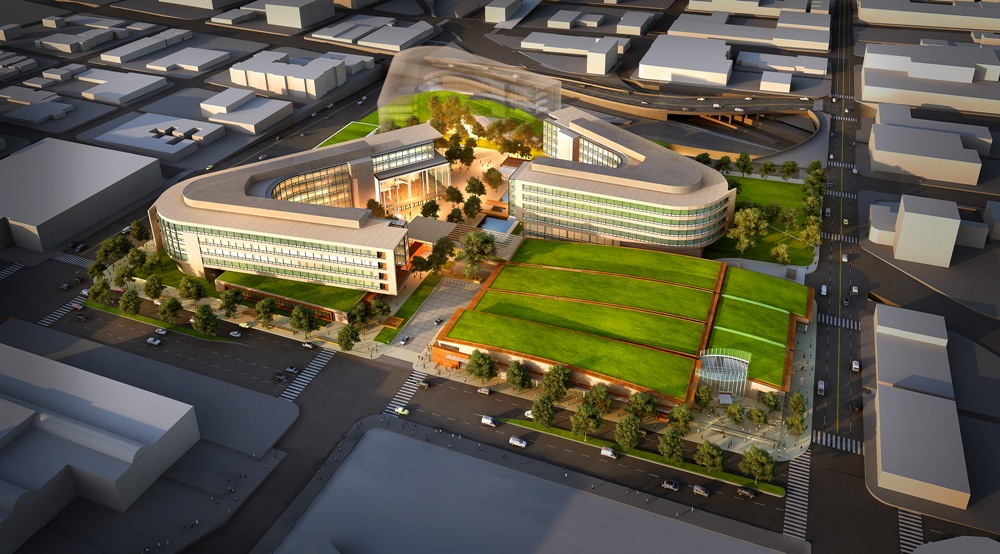 Artist's drawing of the new Bill & Melinda Gates Foundation Campus, which opened in May in Seattle, Washington.
