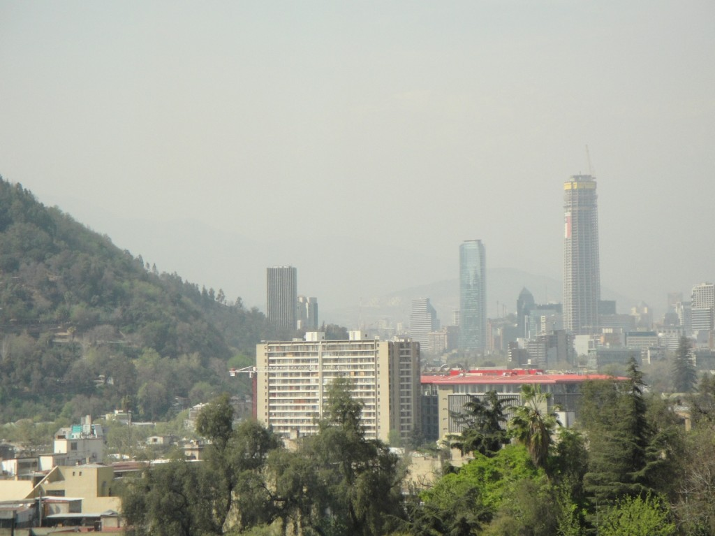 Downtown Santiago, Chile. The 56-storey Titanium Tower (centre) completed in 2010 was the tallest in the city. Now the 62-storey Costanera Center under construction (at right) will surpass it