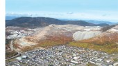 Town of Murdochville with the mine in the background. The photograph was taken part way through the rehabilitation program.