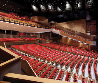 Reconfigured auditorium. The acoustical reflectors are carefully adjusted,  sometimes within less than a degree.