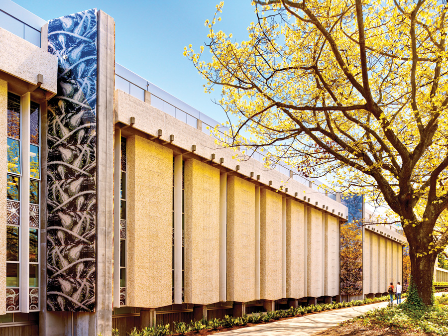 West Wing of Biological Sciences Building, Main Mall, University of British Columbia.  Photograph by Martin Tessler, courtesy Acton Ostry Architects