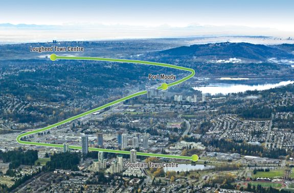 Route of the Evergreen Line between Coquitlam and Burnaby, near Vancouver.