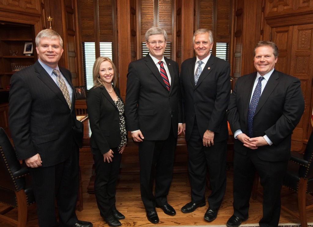 Left to right: John Gamble, President of ACEC, Susie Grynol, Vice-President of ACEC, Prime Minister Stephen Harper,  Herb Kuehne , Chair of ACEC, and James Rajotte, MP, Chair of the Finance Committee, at a meeting in Ottawa on February 1.