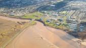 Aerial view of the Petitcodiac Causeway Restoration Project in New Brunswick.