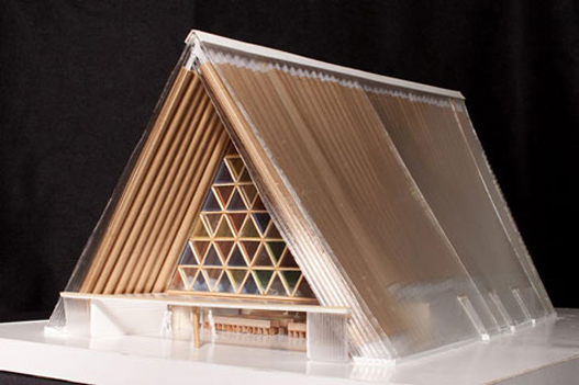 A  temporary cathedral for Christchurch, New Zealand is built using cardboard tubes in the 80-foot high nave. Shigeru Ban of Japan is the architect.