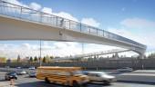Glenmore Trail/Legsby Road Pedestrian Bridge spans 53 metres over a multiple-lane arterial road in southwest Calgary.