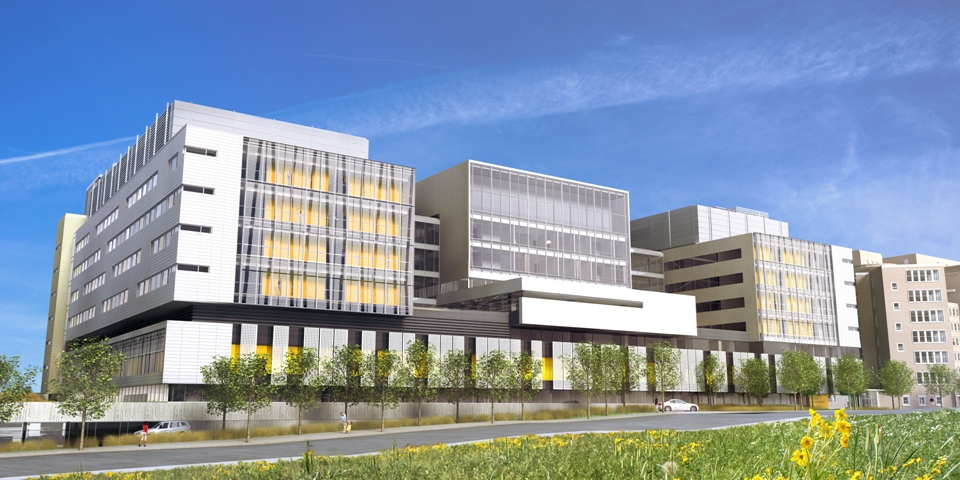 Architectural rendering of CHU Sainte-Justine expansion.