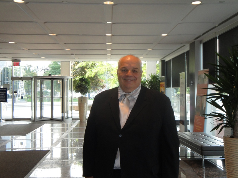 Kim Allen in the lobby of PEO's new headquarters on Sheppard Avenue West in north Toronto.