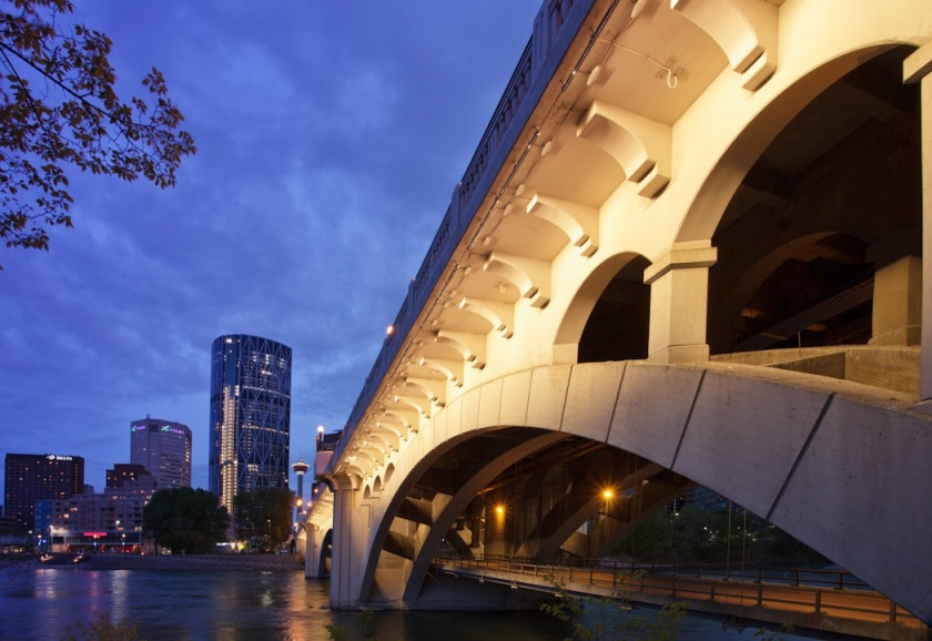 Centre Street Bridge in Calgary with its new LED lighting.  Photograph courtesy Lighting Design Innovations by studio 1826, Michael Heywood.