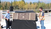 Celebrations for the opening of the new Donald Bridge included laying plaques commemorating the workers, and another (not shown) in Revelstoke marking the 50th anniversary of the Trans-Canada highway. Photo courtesy B.C. Ministry of Transportation and Infrastructure.