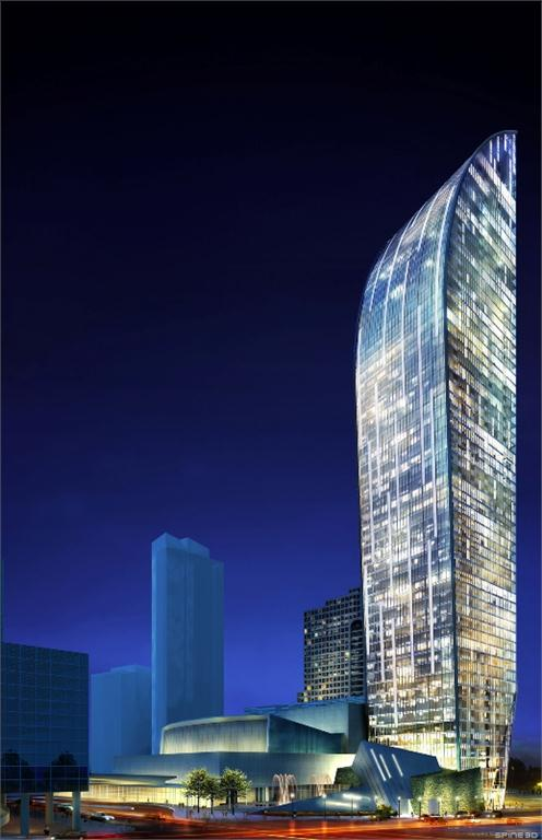 Architecture rendering of the L-Tower under construction in downtown Toronto beside the Sony Centre for the Arts. Image courtesy Studio Daniel Libeskind, (c) SDL.