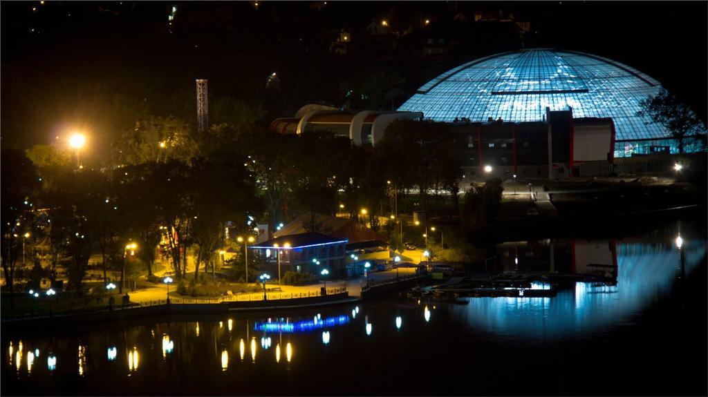 An aluminum dome covers the Aqua Sferra Water Park, City of Donetsk, Ukraine.