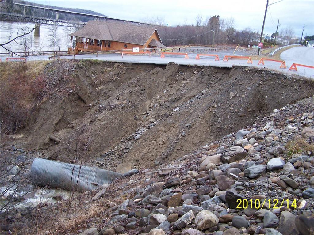 A damaged storm pipe under a municipal road in Grand Falls, New Brunswick. Photo credit: Georges Roy