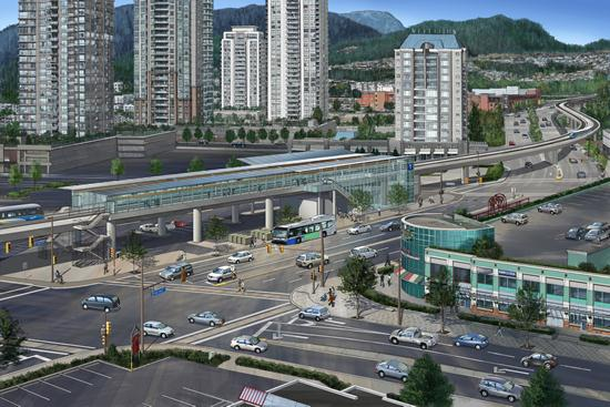 Future Coquitlam Central Station plaza on the Evergreen Line in Vancouver.