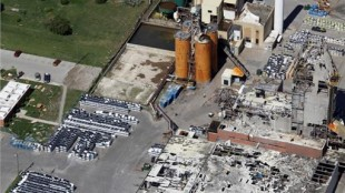 Sifto's evaporator plant in Goderich ON, showing damage from the August 2011 tornado. Image by Evans Media, courtesy of Sifto Canada Corp.